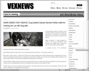 Screenshot of the Vexnews article