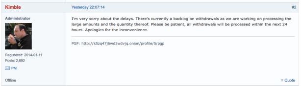 Pants on Fire - Evolution admins tell customers not to panic this morning