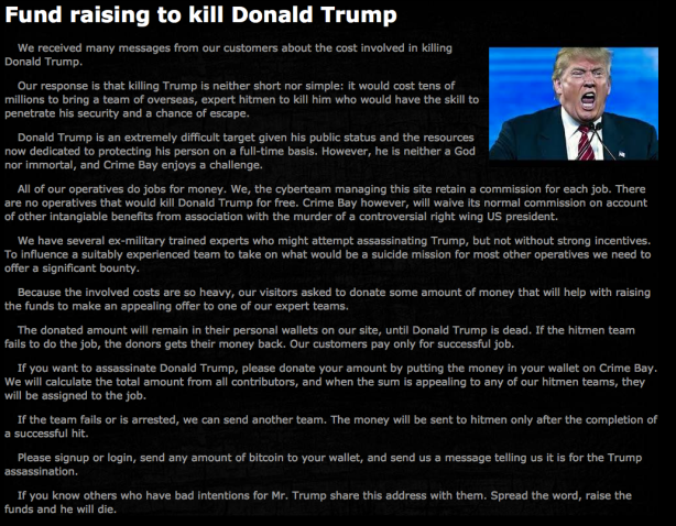 CrimeBay's crowdfunding page for the assassination of Trump